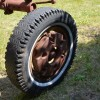 Front tire right with wheel weight